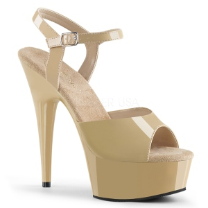 Beige 15 cm DELIGHT-609 pleaser high heels mit plateau