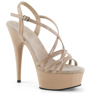 Beige 15 cm Pleaser DELIGHT-613 Sandaletten mit High Heels