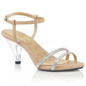 Beige Glitter 8 cm BELLE-316 High Heel Sandaletten Damen