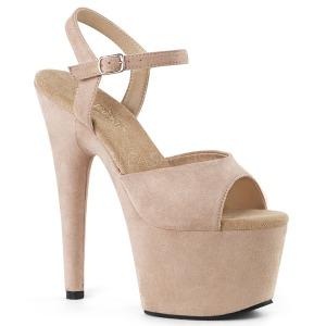 Beige Kunstleder 18 cm ADORE-709FS Sandaletten mit high heels