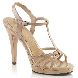 Beige Lack 12 cm FLAIR-420 High Heel Sandaletten Damen