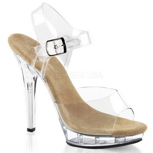 Beige Transparent 13 cm LIP-108 Plateau High Heel Schuhe