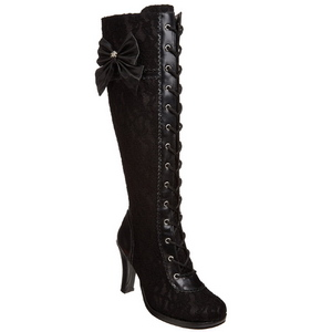Black 9,5 cm GLAM-240 womens boots with high heels