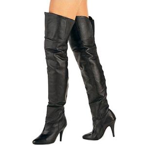 Black Leather 10,5 cm LEGEND-8868 Overknee Boots Flat Heels