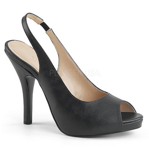 Black Leatherette 12,5 cm EVE-04 big size sandals womens