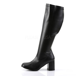 Black Leatherette 7,5 cm GOGO-300WC knee high womens boots with wide calf