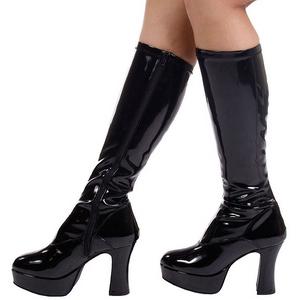 Black Shiny 11 cm Funtasma EXOTICA-2000 Platform Knee Boots