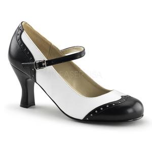 Black White 7,5 cm retro vintage FLAPPER-25 Pumps with low heels