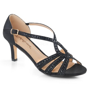 Black glitter 6,5 cm Fabulicious MISSY-03 high heeled sandals