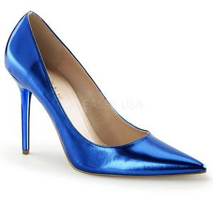 Blau Metallic 10 cm CLASSIQUE-20 Damen Pumps Stiletto Absatz