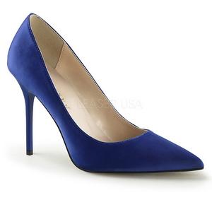Blau Satin 10 cm CLASSIQUE-20 Damen Pumps Stiletto Absatz