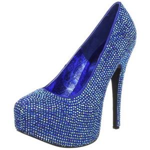 Blau Strass 14,5 cm Burlesque TEEZE-06R Plateau Damen Pumps Schuhe