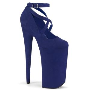 Blau vegan suede 25,5 cm BEYOND-087FS high heels - extreme plateau pumps