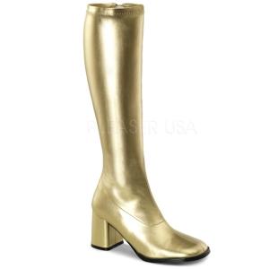 Gold 7,5 cm GOGO-300 hippie stiefel mit blockabsatz - disco stiefel 70er