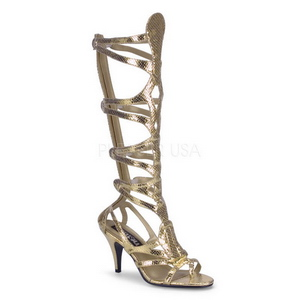 Gold 9 cm GODDESS-12 kniehohe gladiator sandalen