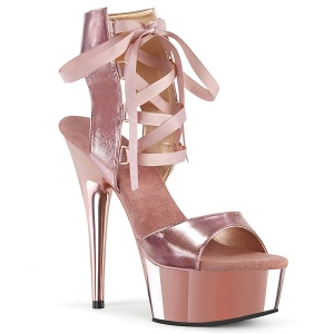 Gold Kunstleder 15 cm DELIGHT-600-14 pleaser sandaletten mit plateau