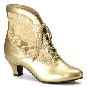 Gold Spitzenstoff 5 cm DAME-05 Damen Stiefeletten mit Schnürsenkel