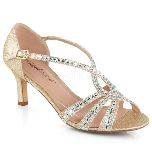 Gold glitter 6,5 cm Fabulicious MISSY-03 high heeled sandals