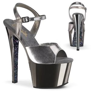 Grau chrome plateau 18 cm SKY-309TTG pleaser high heels