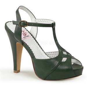 Grün 11,5 cm retro vintage BETTIE-23 Hohe Abend Sandaletten mit Absatz
