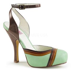 Grün 11,5 cm retro vintage CUTIEPIE-01 Pinup sandaletten mit verstecktem plateau