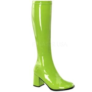Grün 7,5 cm GOGO-300 lackstiefel mit blockabsatz - disco stiefel 70er jahre