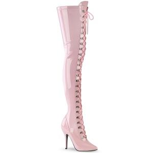 Lackleder 13 cm SEDUCE-3024 Rosa overknee stiefel mit schnürung