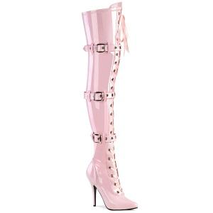 Lackleder 13 cm SEDUCE-3028 Rosa overknee stiefel mit schnürung