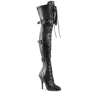 Leatherette 13 cm SEDUCE-3028 Black overknee boots with laces