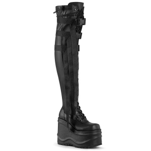 Leatherette 15 cm WAVE-315-2 Wedge Platform Thigh High Boots