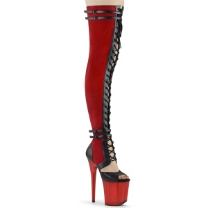 Leatherette 20 cm FLAMINGO-3027-1 overknee boots with laces