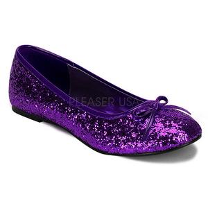Lila STAR-16G glitter flache ballerinas damen schuhe