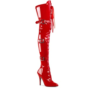 Patent 13 cm SEDUCE-3028 Red overknee boots with laces