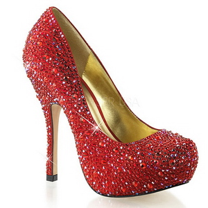 Red Glittering Stones 13,5 cm FELICITY-20 Womens High Heels Shoes