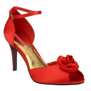 Red Satin 9,5 cm ROSA-02 Womens High Heel Sandals