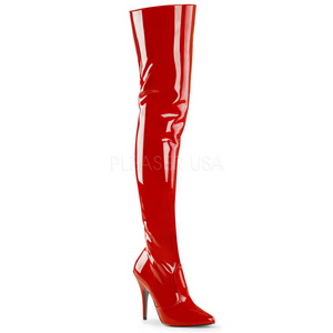 Red Shiny 13 cm SEDUCE-3010 Thigh High Boots for Men