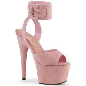 Rosa Kunstleder 18 cm ADORE-791FS pleaser high heels mit knöchelriemen