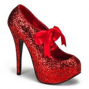Rot Glitter 14,5 cm Burlesque TEEZE-10G Platform Pumps Schuhe