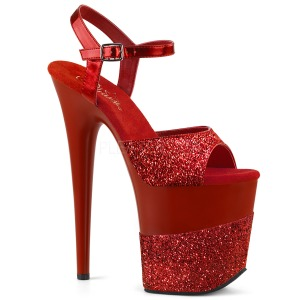 Rot Glitzern 20 cm Pleaser FLAMINGO-809-2G Plateau High Heels