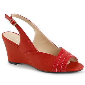 Rot Kunstleder 7,5 cm KIMBERLY-01SP grosse grössen sandaletten damen