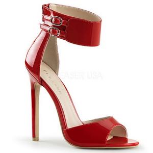 Rot Lack 13 cm SEXY-19 Hohe Abend Sandaletten mit Absatz
