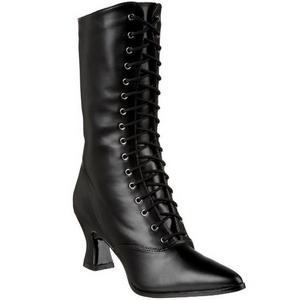 Schwarz 7 cm VICTORIAN-120 Damen Stiefeletten mit Schnürsenkel