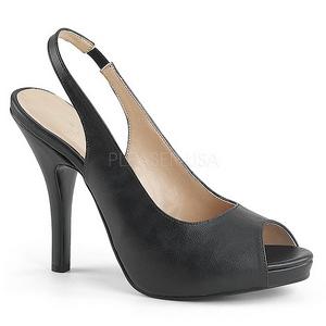 Schwarz Kunstleder 12,5 cm EVE-04 grosse grössen sandaletten damen