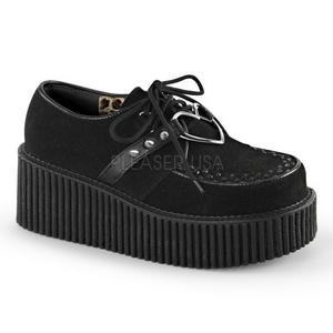 Schwarz Kunstleder CREEPER-206 Plateau Creepers Schuhe Damen