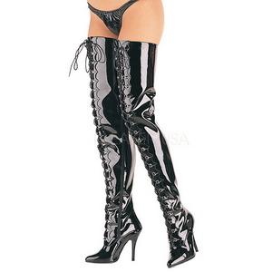 Schwarz Lack 13 cm SEDUCE-4026 Overknee Stiefel für Männer
