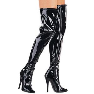 Schwarz Lack 15 cm DOMINA-3000 Overknee Stiefel für Männer