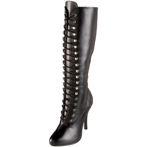 Schwarz Matt 12 cm ARENA-2020 Damen Schnürstiefel High Heels