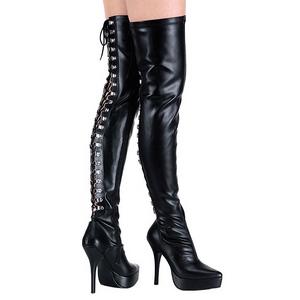 Schwarz Matt 13,5 cm INDULGE-3063 Overknee Stiefel für Männer