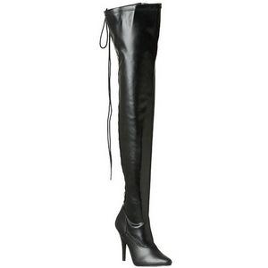 Schwarz Matt 13 cm SEDUCE-3063 Overknee Stiefel Flacher Heels