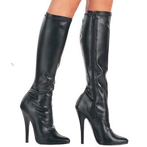 Schwarz Matt 15 cm DOMINA-2000 High Heels Damenstiefel für Männer